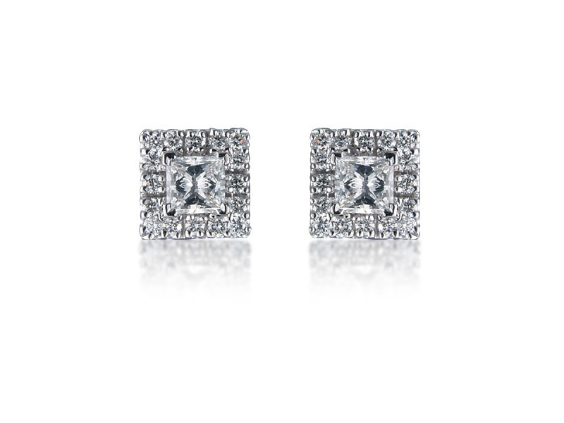 18ct White Gold & Diamonds Stud Earrings with Princess Cut Centre Stone 1.20ct Diamond.