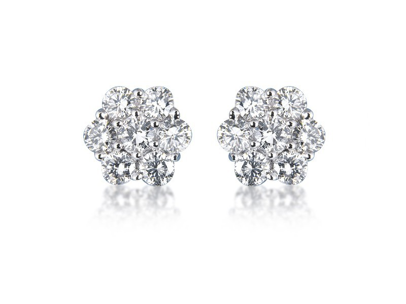 18ct White Gold Stud Earrings with 2.30ct Diamonds.
