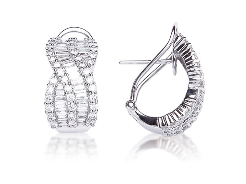 18ct White Gold Half Hoop Earrings with 2.80ct Diamonds.