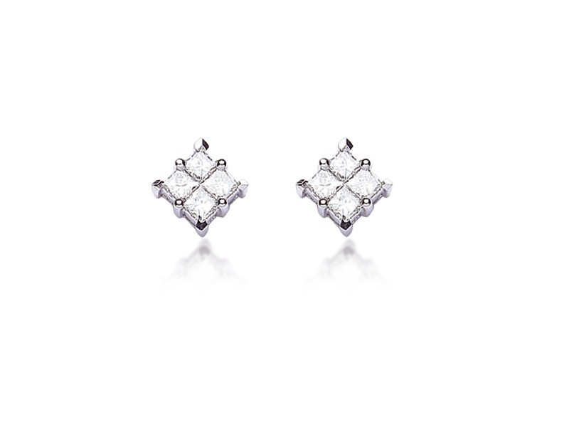 18ct White Gold Stud Earrings with 0.60ct Diamonds.