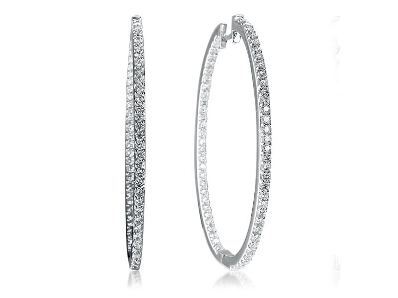 18ct White Gold Hoop Earrings with 2.90ct Diamonds.