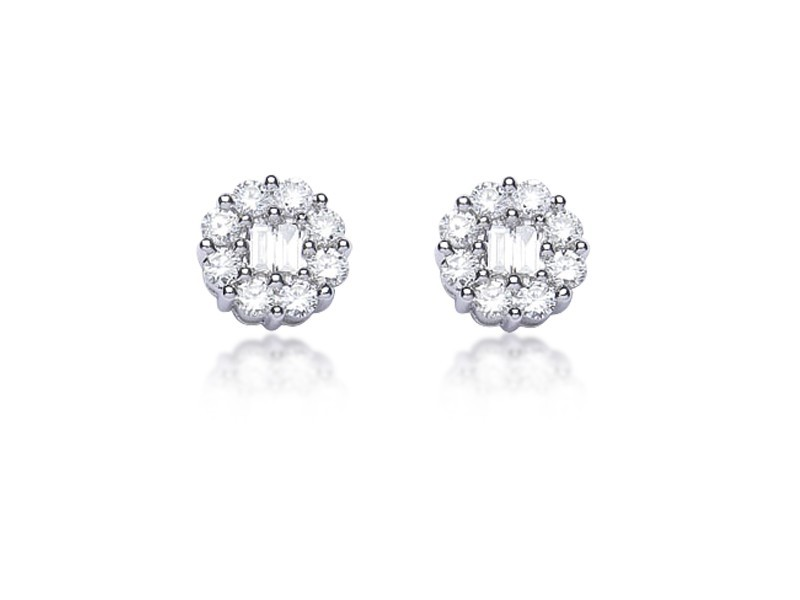 18ct White Gold Stud Earrings with 0.90ct Diamonds.