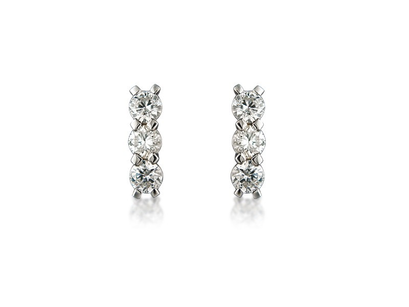 18ct White Gold Drop Earrings with 3 Brilliant Cut Diamonds. 0.90ct.