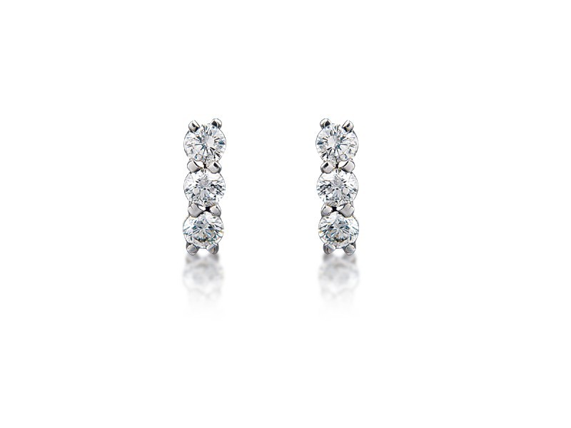 18ct White Gold Drop Earrings with 3 Brilliant Cut Diamonds. 0.55ct.