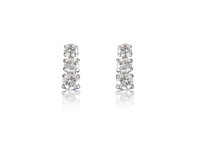 18ct White Gold Drop Earrings with 3 Brilliant Cut Diamonds. 0.60ct