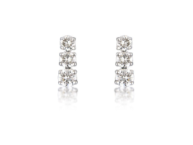 18ct White Gold Drop Earrings with 3 Brilliant Cut Diamonds. 1.00ct.