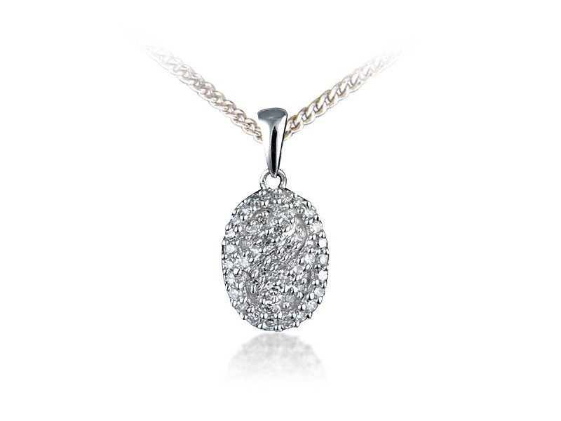 18ct White Gold Pendant with 0.20ct Diamonds.