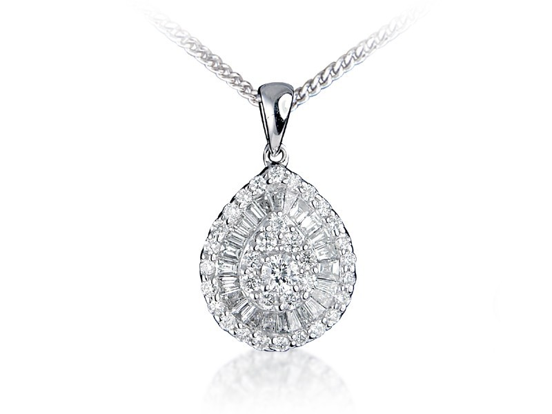 18ct White Gold Pendant with 0.65ct Diamonds.