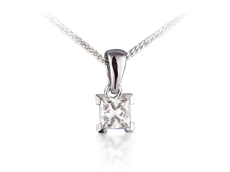 18ct White Gold Pendant with 1.00ct Princess Cut Diamond.