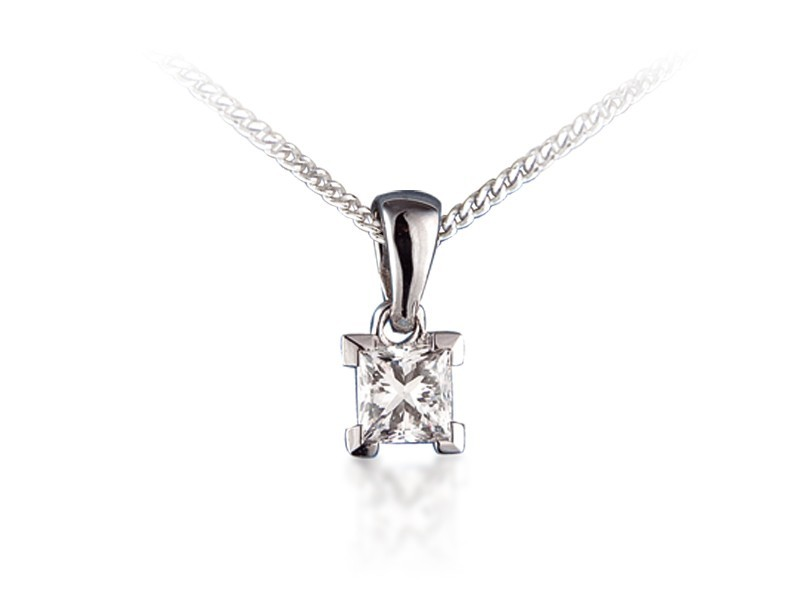 18ct White Gold Pendant with Princess Cut 0.75ct Diamond.
