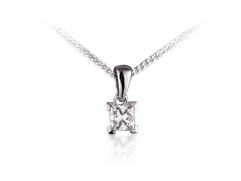 18ct White Gold Pendant with Princess Cut 0.50ct Diamond.