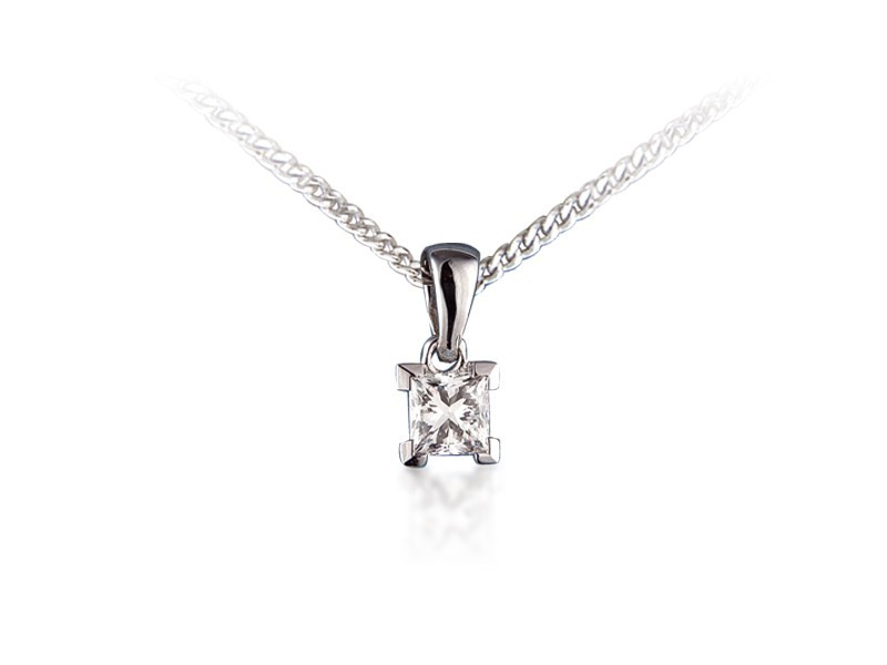 18ct White Gold Pendant with Princess Cut 0.33ct Diamond.
