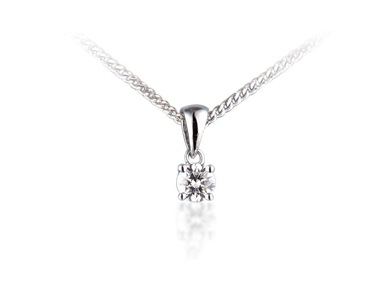 18ct White Gold Pendant with Brilliant Cut 0.25ct Diamond.