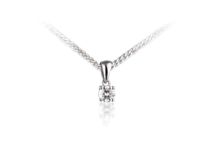 18ct White Gold Pendant with Brilliant Cut 0.15ct Diamond.
