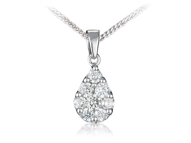 18ct White Gold Pendant with 0.90ct Diamonds.