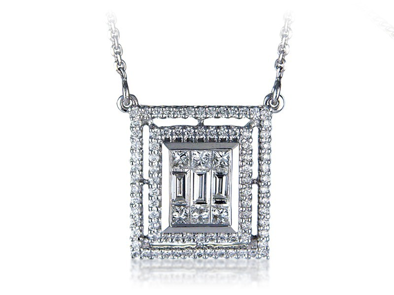 18ct White Gold Pendant with 1.80ct Diamonds.