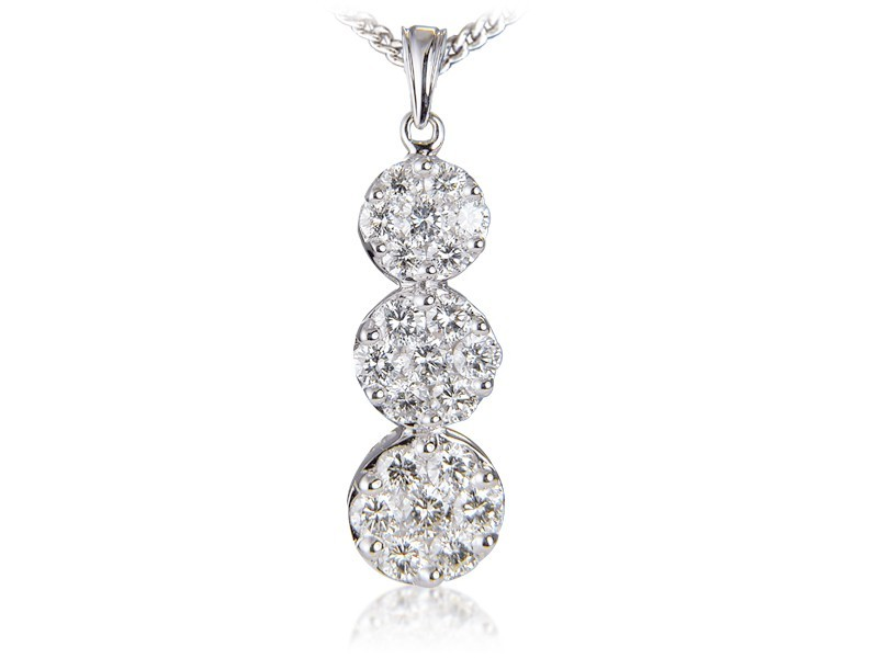 18ct White Gold Pendant with 3.00ct Diamonds.