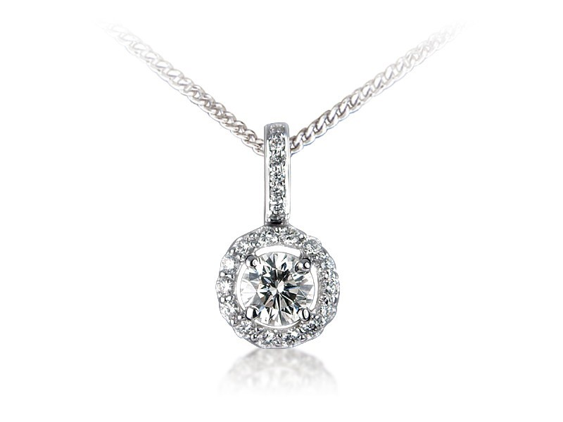 18ct White Gold Pendant with 0.75ct Diamonds.