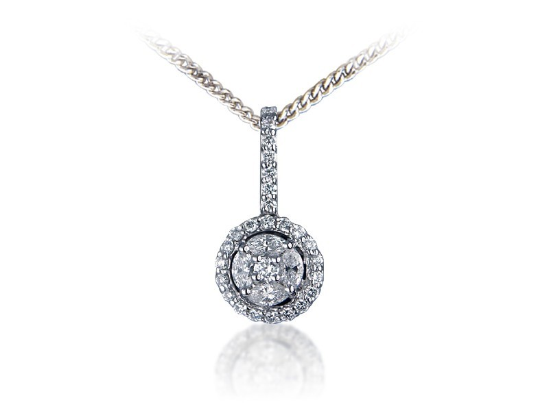 18ct White Gold Pendant with 0.33ct Diamonds.