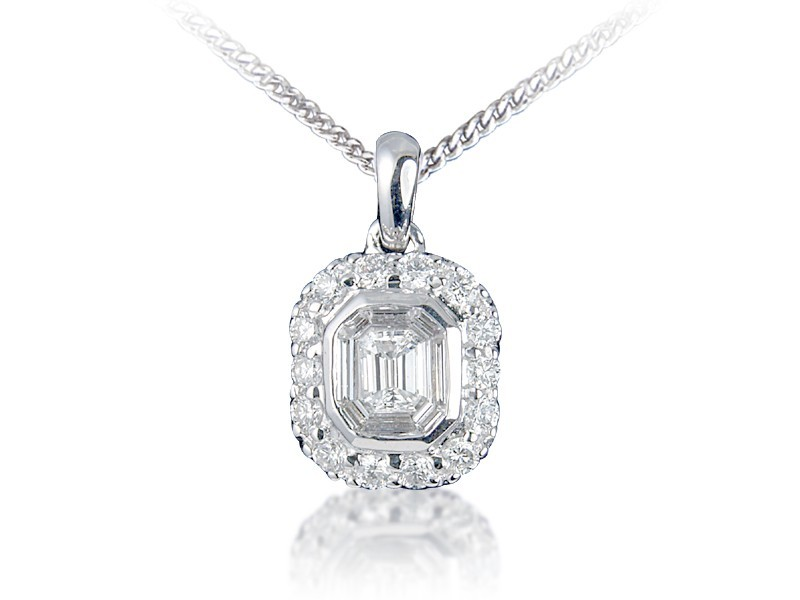 18ct White Gold Pendant with 1.00ct Diamonds.