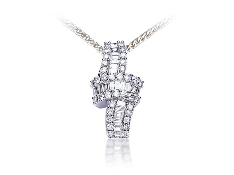 18ct White Gold Pendant with 0.85ct Diamonds.