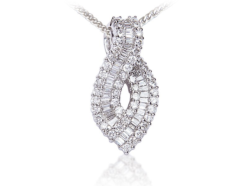 18ct White Gold Pendant with 1.20ct Diamonds.