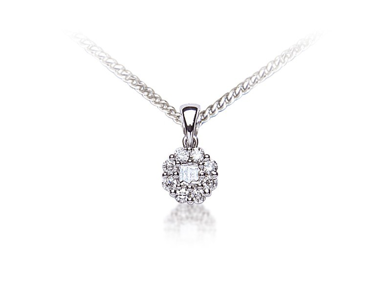 18ct White Gold Pendant with 0.25ct Diamonds.