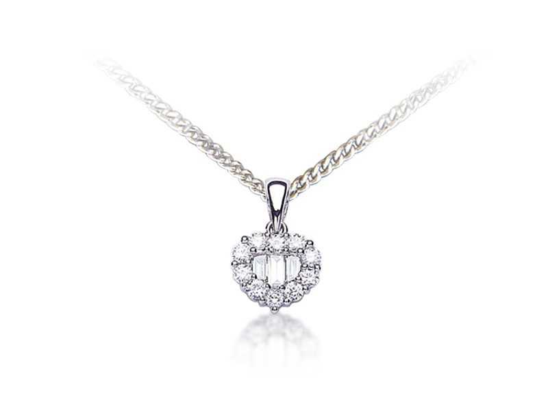 18ct White Gold Pendant with 0.35ct Diamonds.