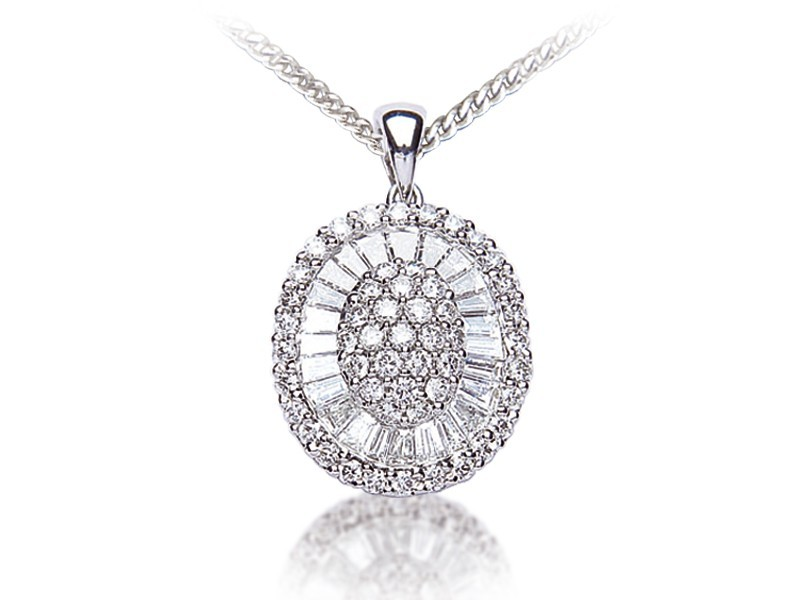 18ct White Gold Pendant with 1.25ct Diamonds.
