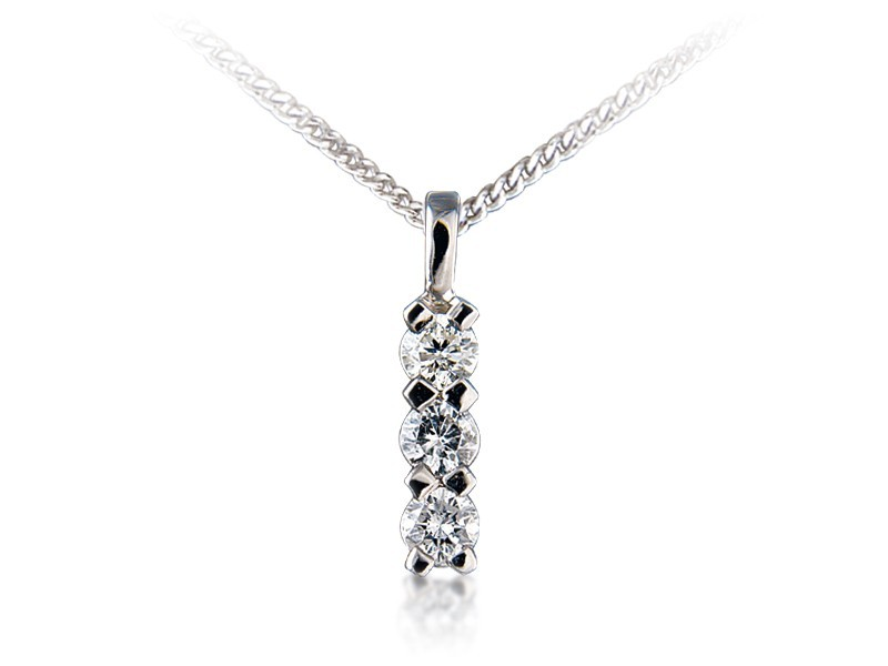 18ct White Gold Pendant set with 3 brilliant Cut Diamonds. 0.50ct