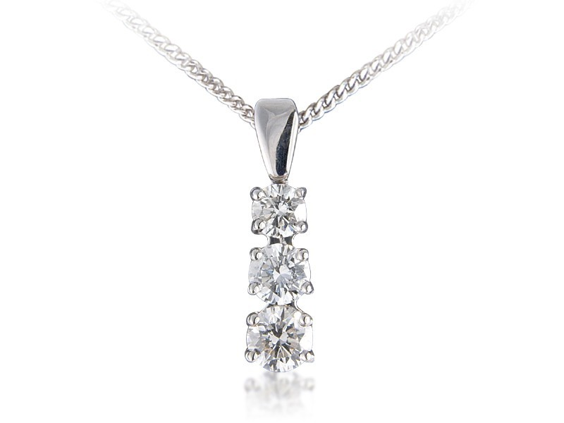 18ct White Gold Pendant with 3 brilliant Cut Diamonds. 1.00ct