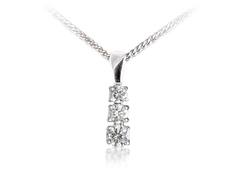 18ct White Gold Pendant with 3 brilliant Cut Diamonds. 0.50ct