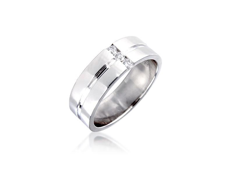 18ct White Gold & 0.10ct Diamonds 6mm Wedding Ring