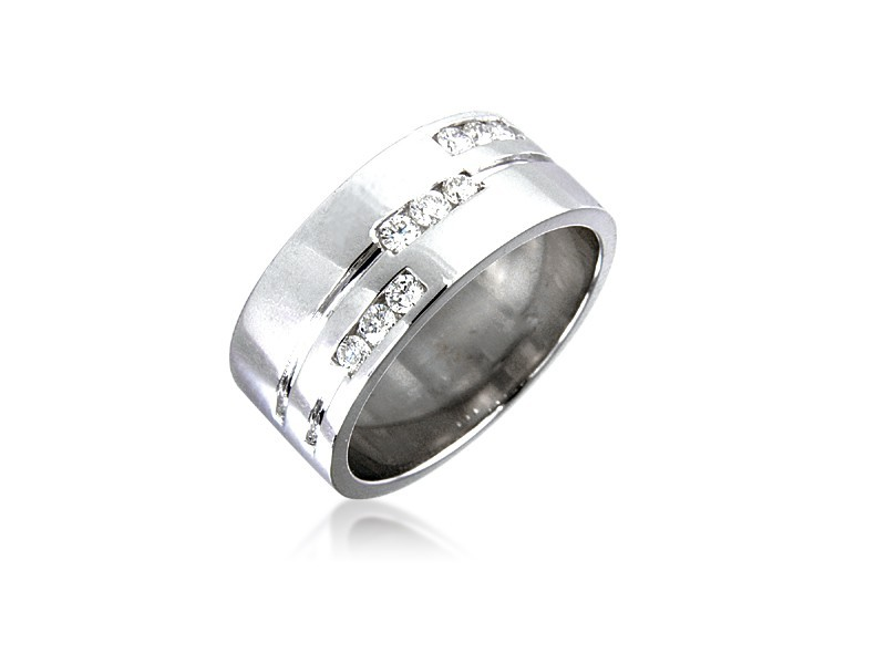 18ct White Gold & 0.25ct Diamonds 8mm Wedding Ring
