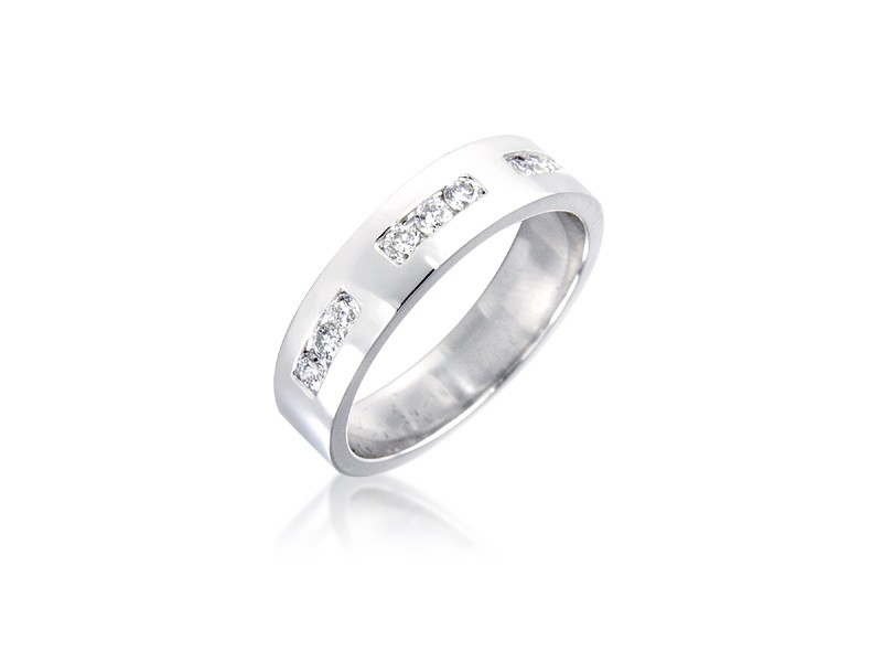 18ct White Gold & 0.25ct Diamonds 4mm Wedding Ring