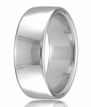 18ct White Gold 8mm Court Wedding Band 14.4gms