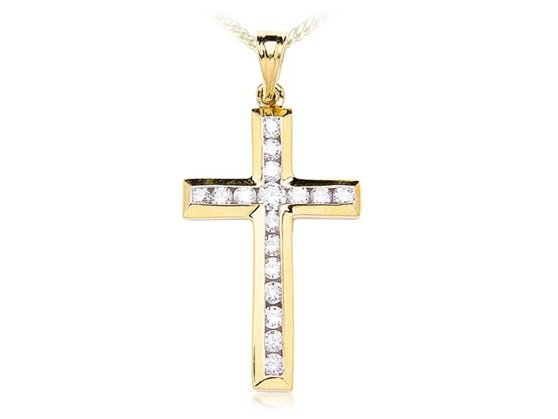 9ct Yellow Gold Cross with 1.00ct Diamonds.