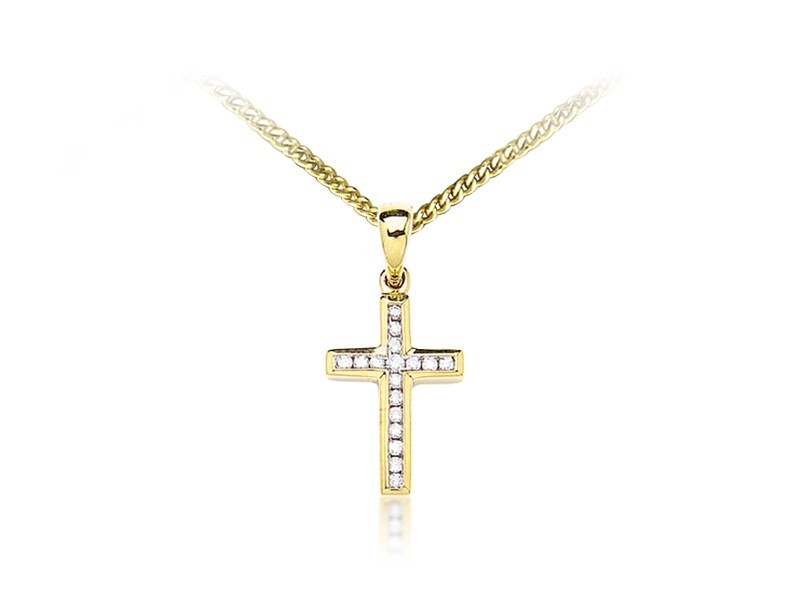 9ct Yellow Gold Cross with 0.11ct Diamonds.