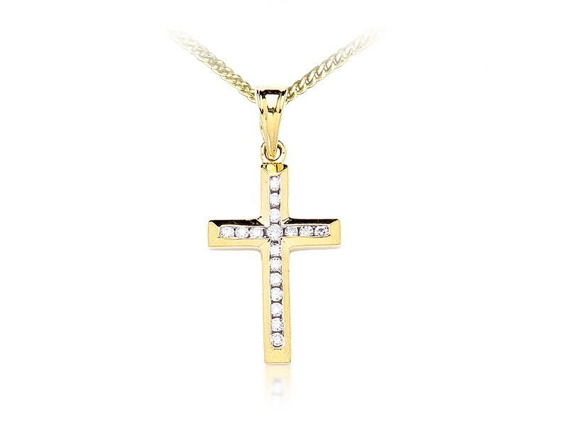 9ct Yellow Gold Cross with 0.25ct Diamonds.