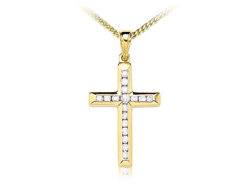 9ct Yellow Gold Cross with 0.50ct Diamonds.