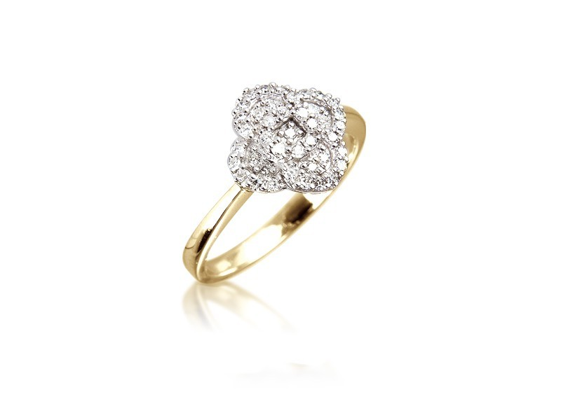 9ct Yellow & White Gold ring with 0.20ct Diamonds in white gold mount.