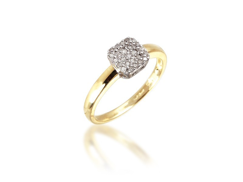 9ct Yellow & White Gold ring with 0.10ct Diamonds in white gold mount.
