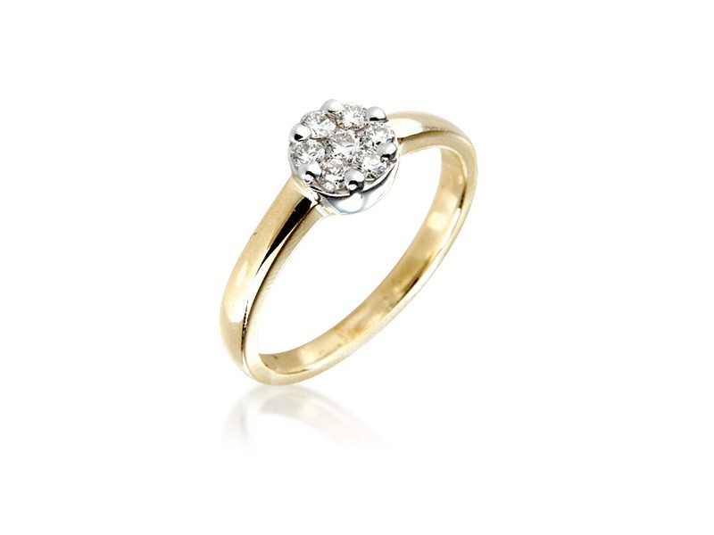 9ct Yellow & White Gold ring with 0.25ct Diamonds in white gold mount.