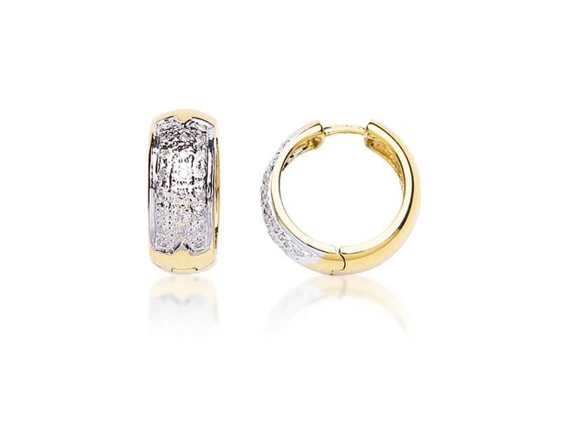 9ct Yellow & White Gold 0.20ct Diamond Hoop Earrings