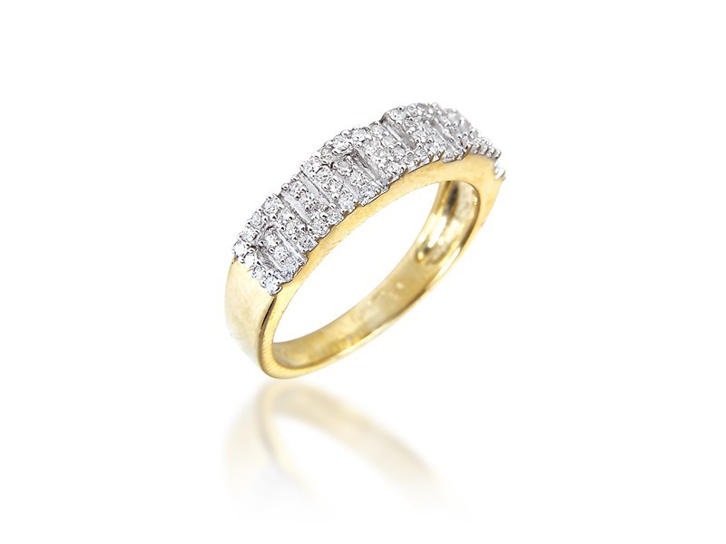 9ct Yellow & White Gold Eternity Ring with 0.25ct Diamonds in white gold mount.
