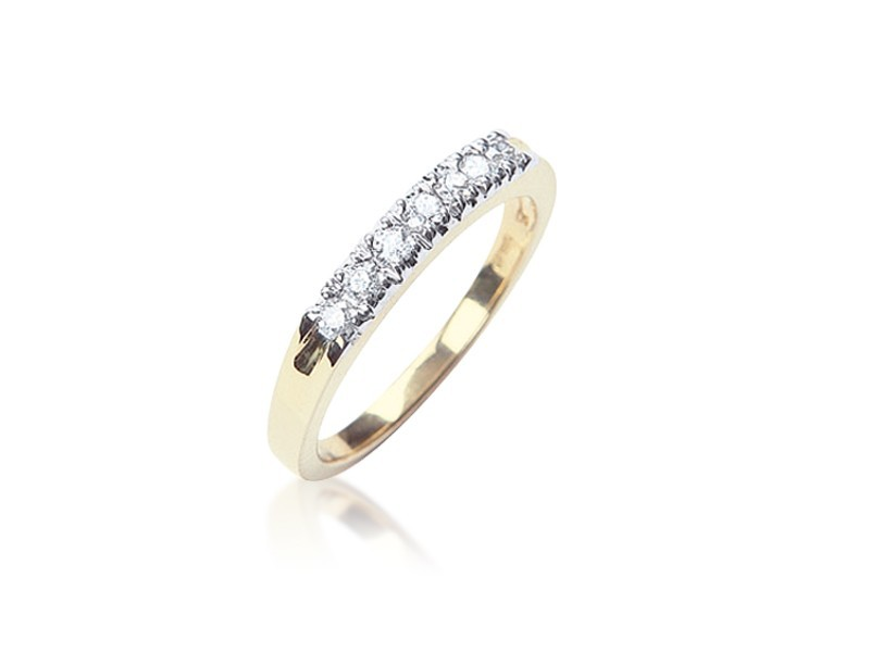 9ct Yellow Gold Eternity Ring  with 0.25ct Diamonds in white gold mount.