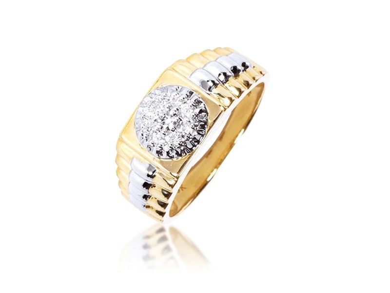9ct Yellow & White Gold Mens Ring with 0.25ct Diamonds.