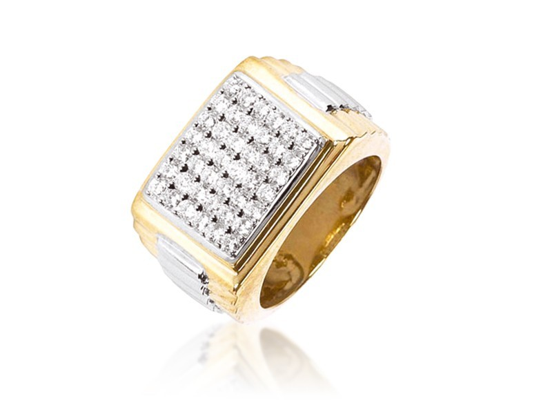 9ct Yellow & White Gold Mens Ring with 1.00ct Diamonds.