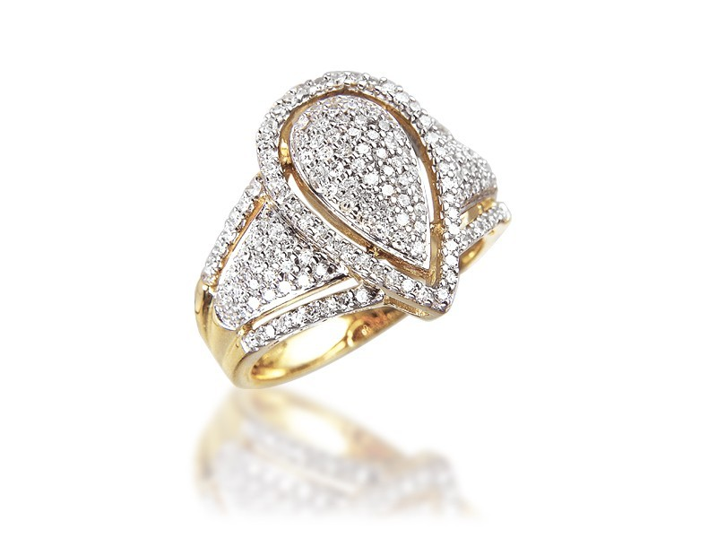 9ct Yellow & White Gold Mens Ring with 0.65ct Diamonds.