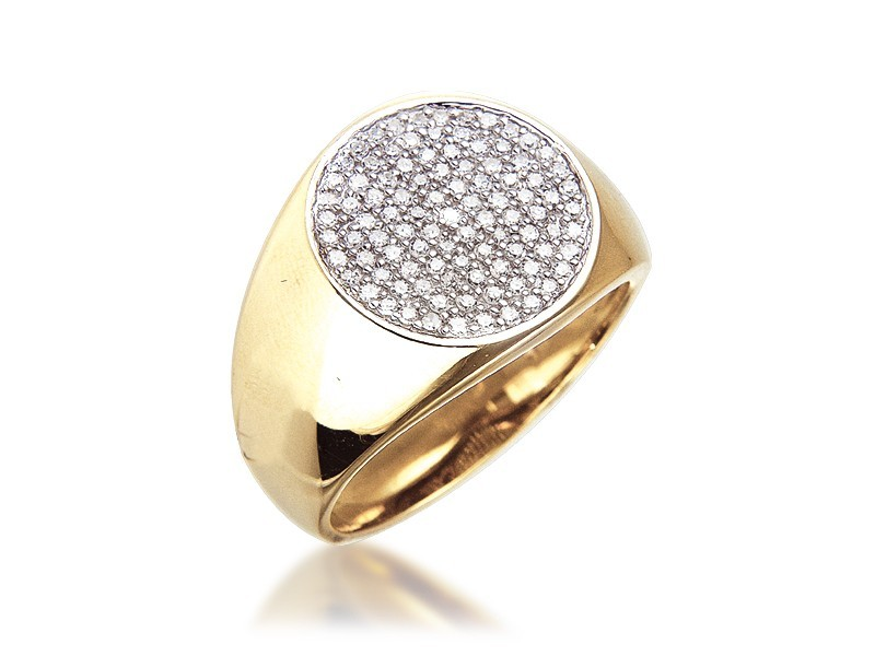 9ct Yellow Gold Mens Ring with 0.40ct Diamonds.